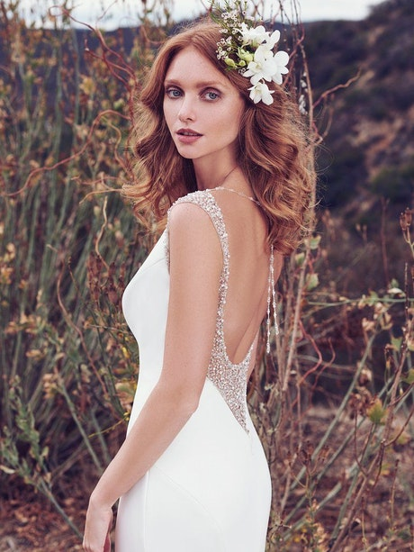 Evangelina (7MC923) Simple Satin Wedding Dress By Maggie Sottero