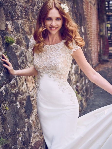 Odette Marie (8MC468) Simple Modest Crepe Wedding Dress by Maggie Sottero