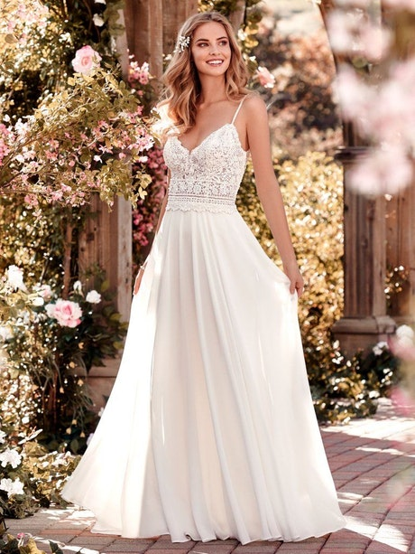 Juniper (8RN454) Chiffon Boho Wedding Dress by Rebecca Ingram
