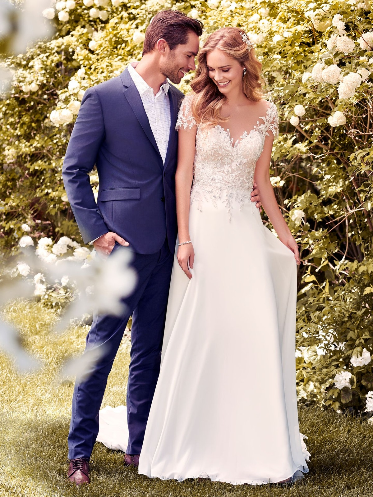 Mercy (8RT467) Chiffon Boho Wedding Dress by Rebecca Ingram