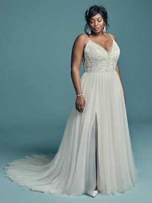 Charlene Lynette (Curve) (CRV-8MS694AC) Plus Size Tulle Boho Wedding Dress by Maggie Sottero