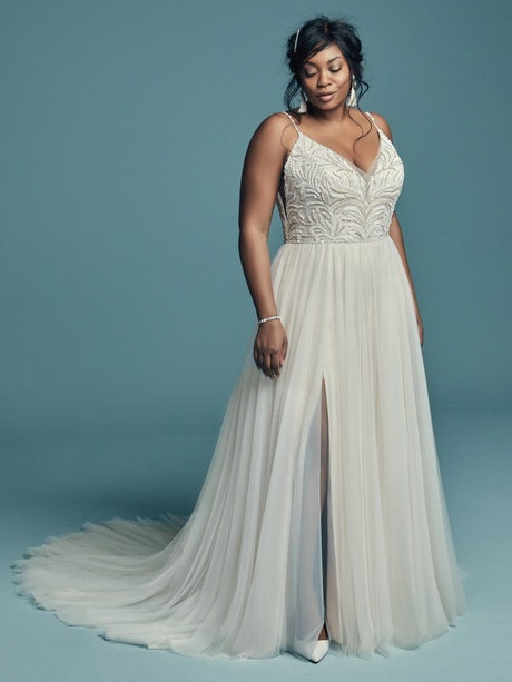 Charlene Lynette (Curve) (CRV-8MS694AC) Plus Size Tulle Boho Wedding Dress by Maggie Sottero