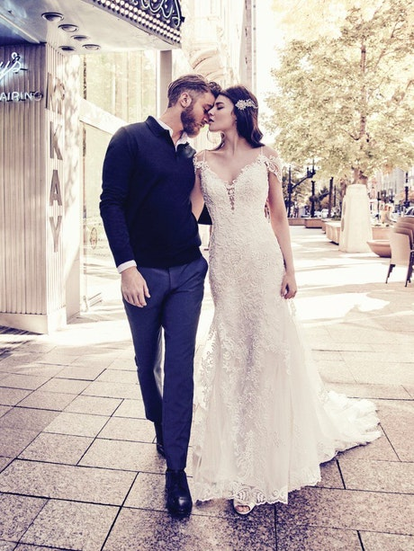 Della (8MC750) Lace Boho Wedding Dress by Maggie Sottero