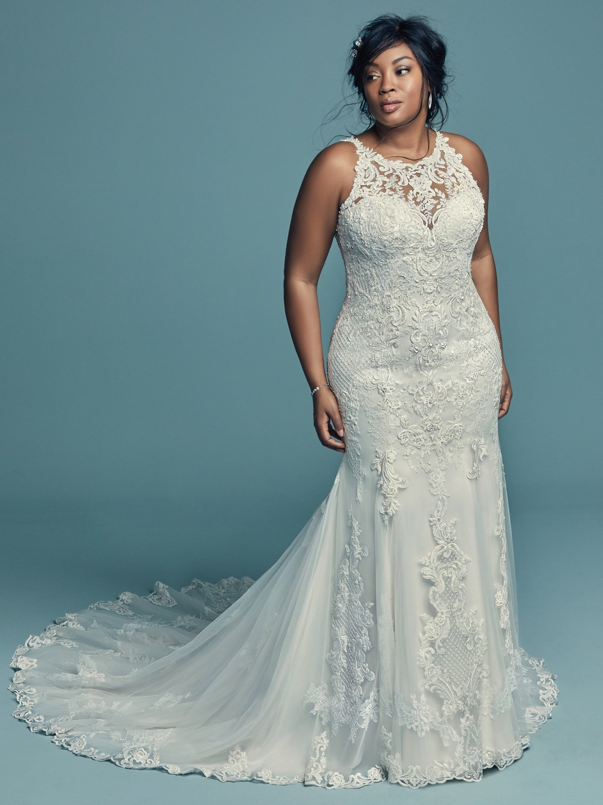 Kendall Lynette (Curve) (CRV-8MC749AC) Plus Size Lace Wedding Dress by Maggie Sottero
