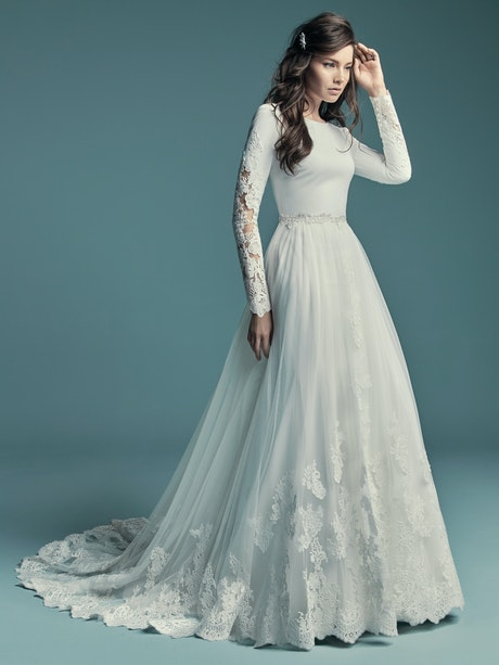 Olyssia (8MW678) Simple Long Sleeved Wedding Dress by Maggie Sottero