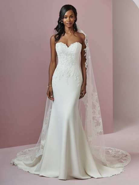 Billie (8RC710) Simple Crepe Wedding Dress by Rebecca Ingram