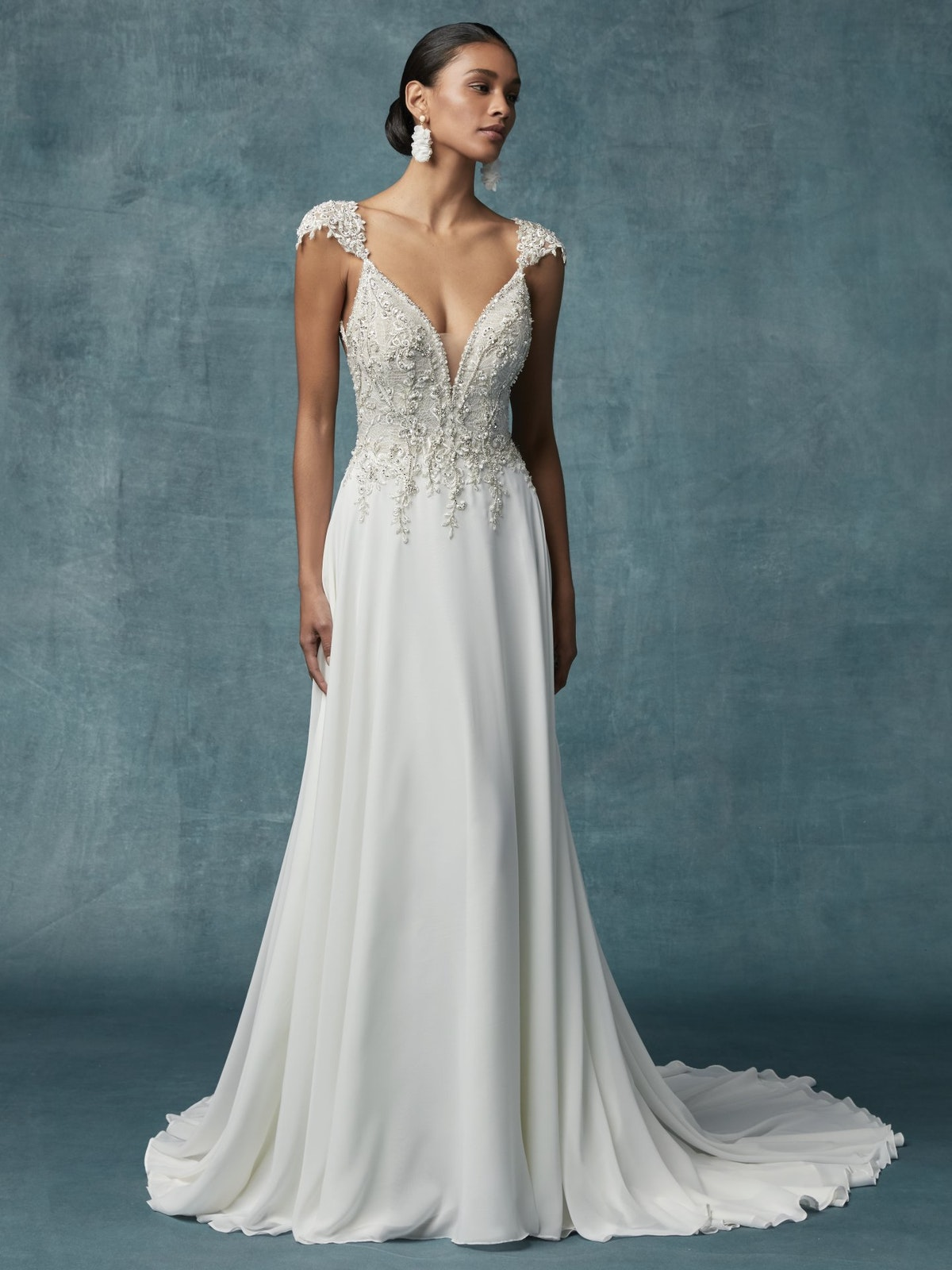 Gabor A Line Chiffon Wedding Dress   Maggie Sottero