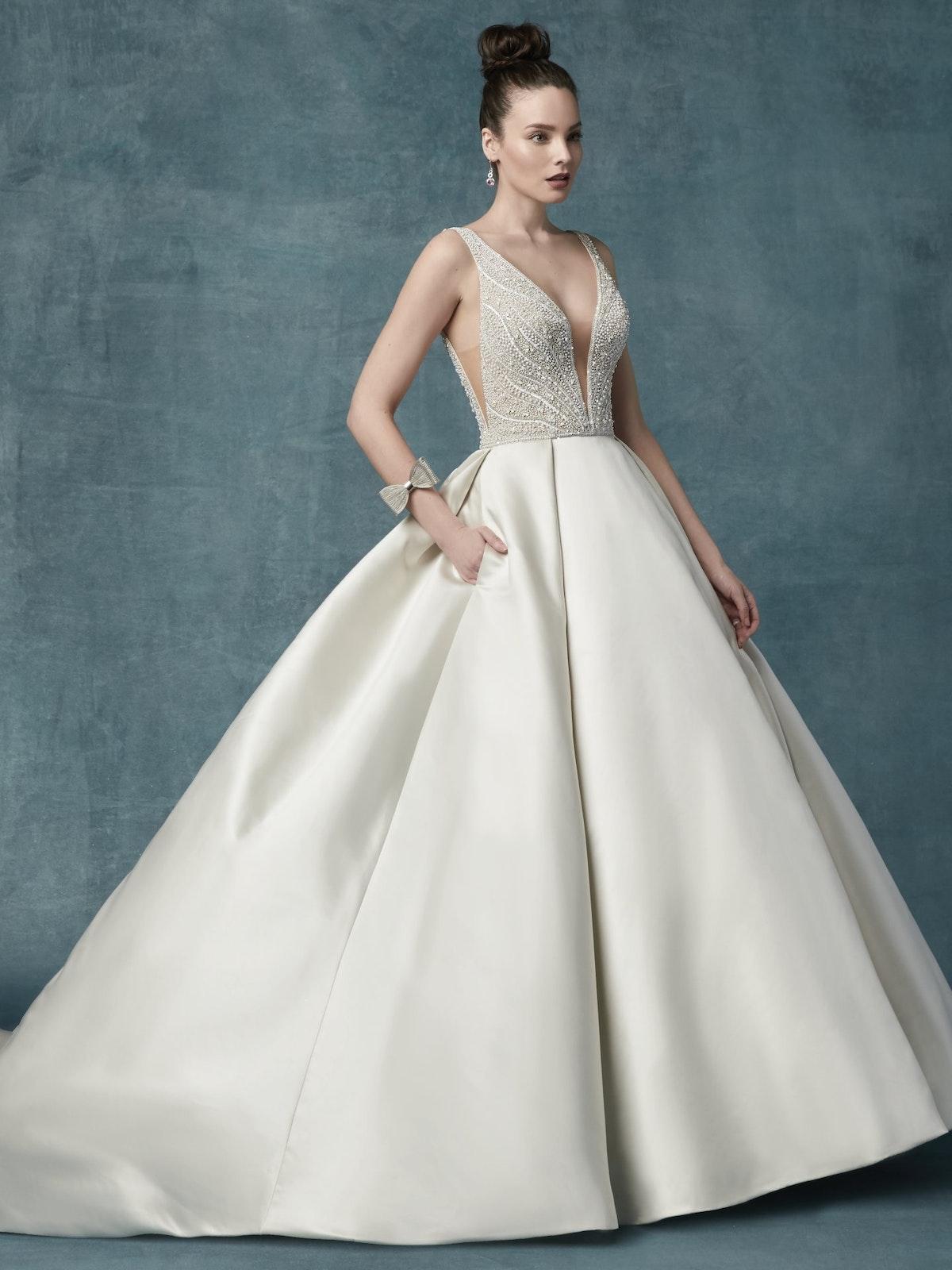 Mylene (9MS103) Simple Ballgown Wedding Dress by Maggie Sottero