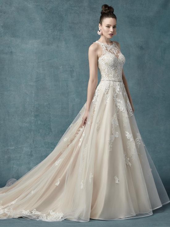 Shelissa (9MC025) Classic Halter Neck Wedding Dress by Maggie Sottero