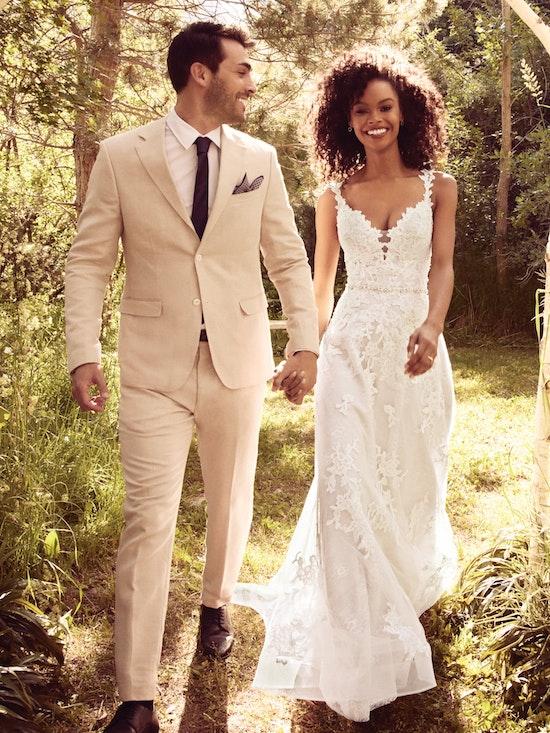 Courtney (9RC052) Blush Boho Wedding Dress by Rebecca Ingram