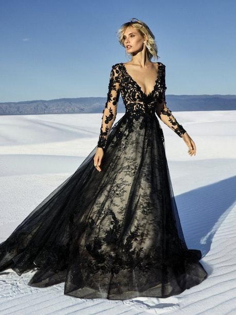Zander (9SC076) Black Long Sleeve Wedding Dress by Sottero and Midgley