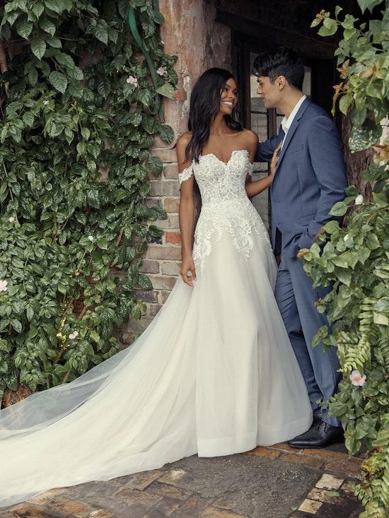 Vanessa (Curve) (CRV-9RS806ZU) Shoulder A Line Princess Wedding Dress by Rebecca Ingram