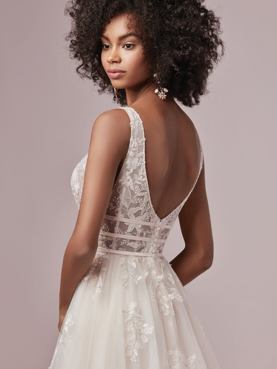 Raelynn (9RT827) Boho A Line Wedding Dress by Rebecca Ingram
