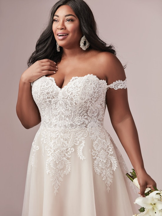 Vanessa (Curve) (CRV-9RS806ZU) Shoulder Plus Size A Line Princess Wedding Dress by Rebecca Ingram