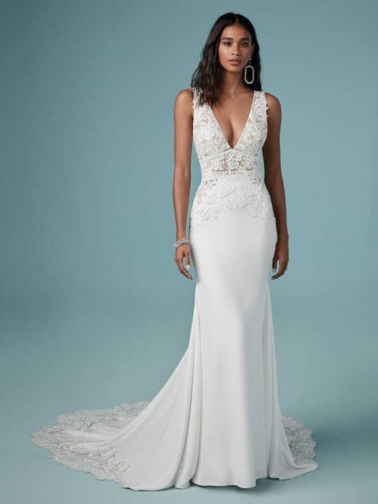 Aidan (9MW858) Sexy Crepe Wedding Dress by Maggie Sottero