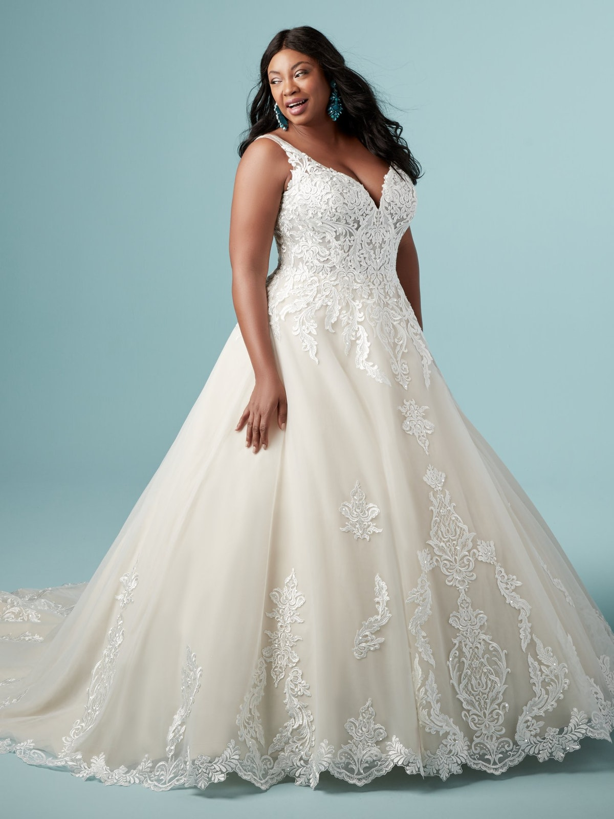 Trinity Lynette (Curve) (9MS902AC) Unique Lace Ballgown Wedding Dress by Maggie Sottero