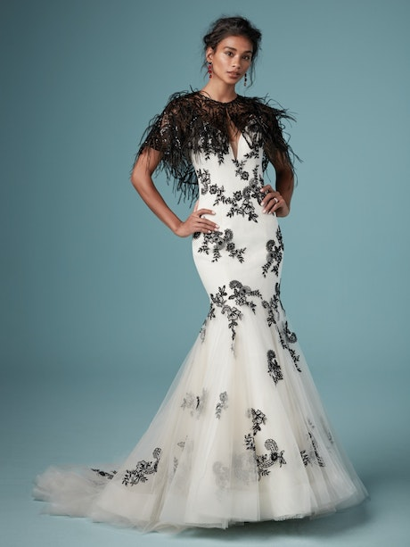 Ally (9MW843) Black and Antique Ivory Wedding Dress by Maggie Sottero