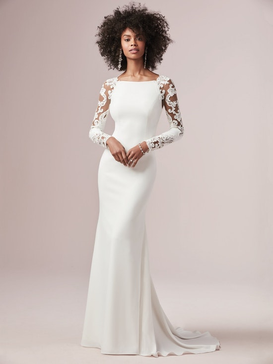 Bethany (9RW909) Long Lace Sleeve Simple Wedding Dress by Rebecca Ingram