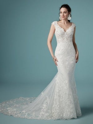 Celeste (9MS901) Fit and Flare V Neckline Lace Wedding Dress by Maggie Sottero