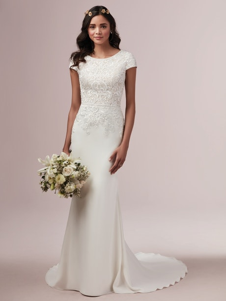 Daniella (9RS873) Modest Crepe Wedding Dress by Rebecca Ingram