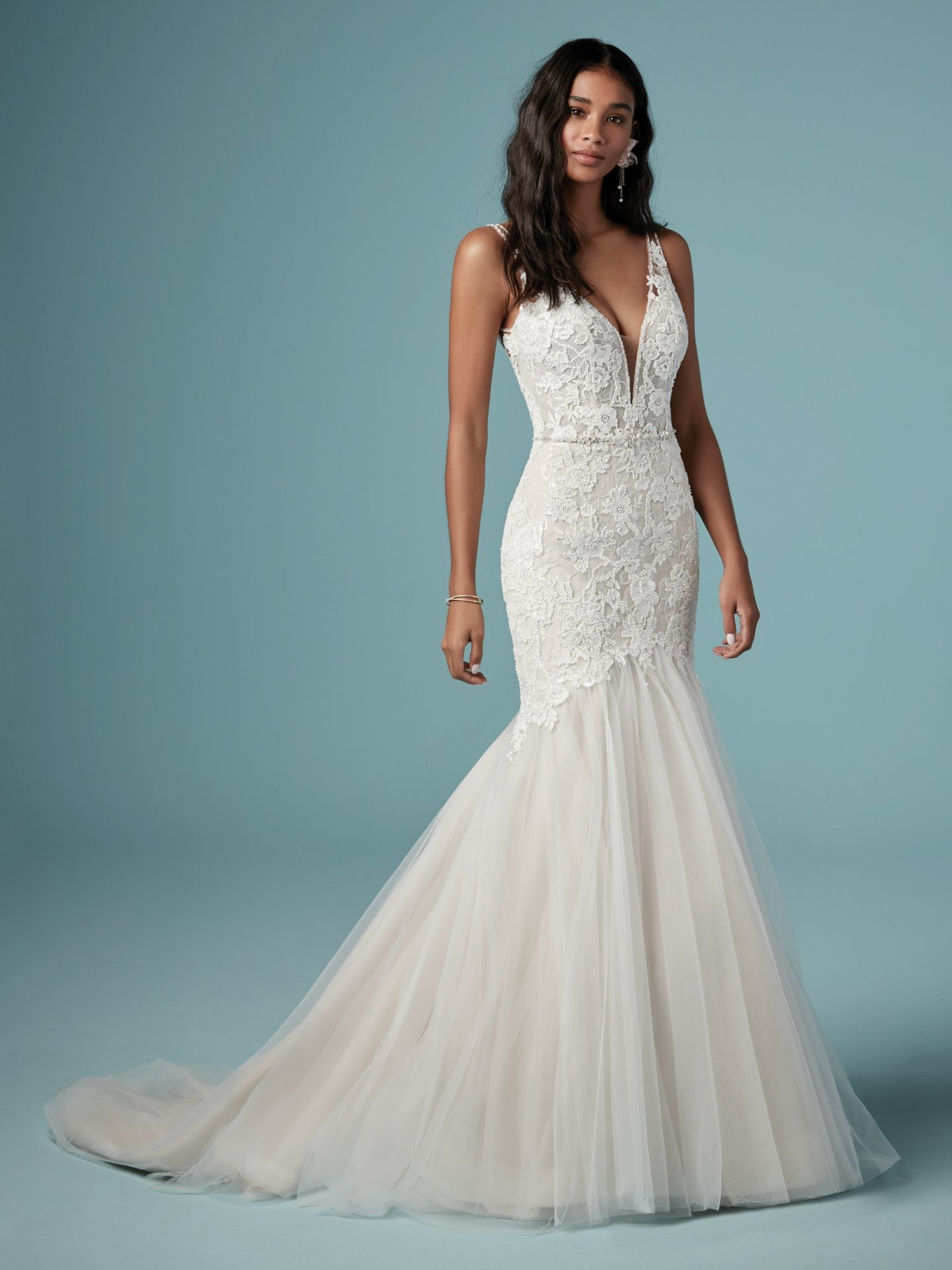Elvie (9MS900) Fit and Flare V Neckline Lace Wedding Dress by Maggie Sottero