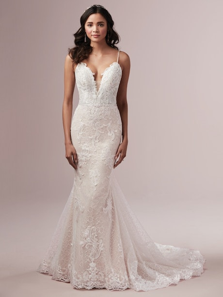 Laurette (9RS892) V Neckline Lace Wedding Dress by Rebecca Ingram