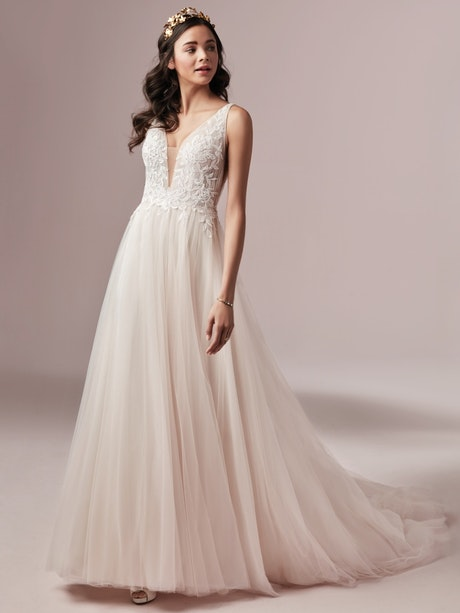 Mckenna (9RS893) Boho Lace and Tulle Wedding Dress by Rebecca Ingram
