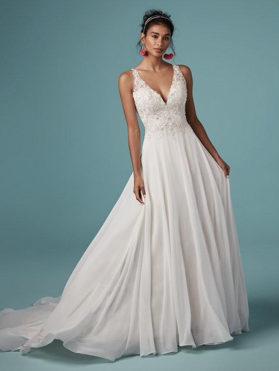 Melody (9MS837) Vintage Chiffon Wedding Dress by Maggie Sottero