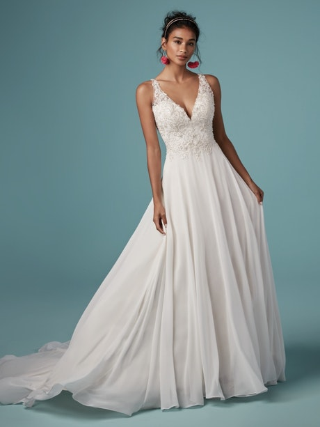 Melody (9MS837) Vintage Chiffon Wedding Dress by Maggie Sottero
