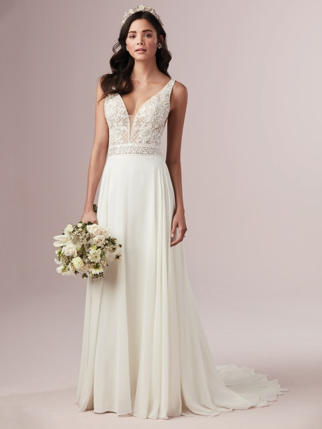 Mildred (9RN845) Lace and Chiffon Wedding Dress by Rebecca Ingram