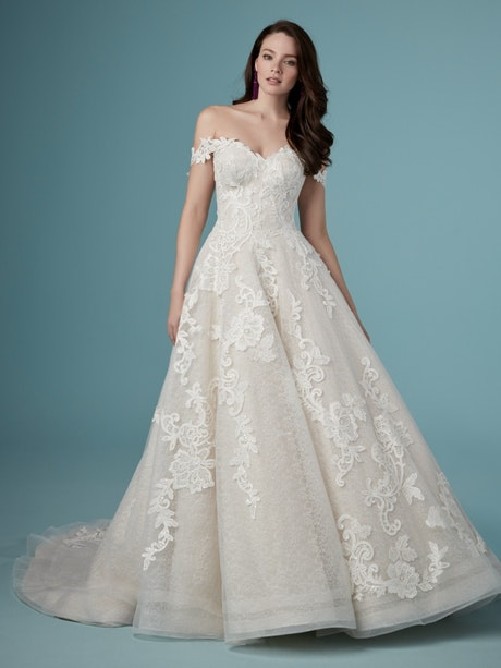 Paislee Louise (9MC819MC) Off the Shoulder Ballgown Wedding Dress by Maggie Sottero