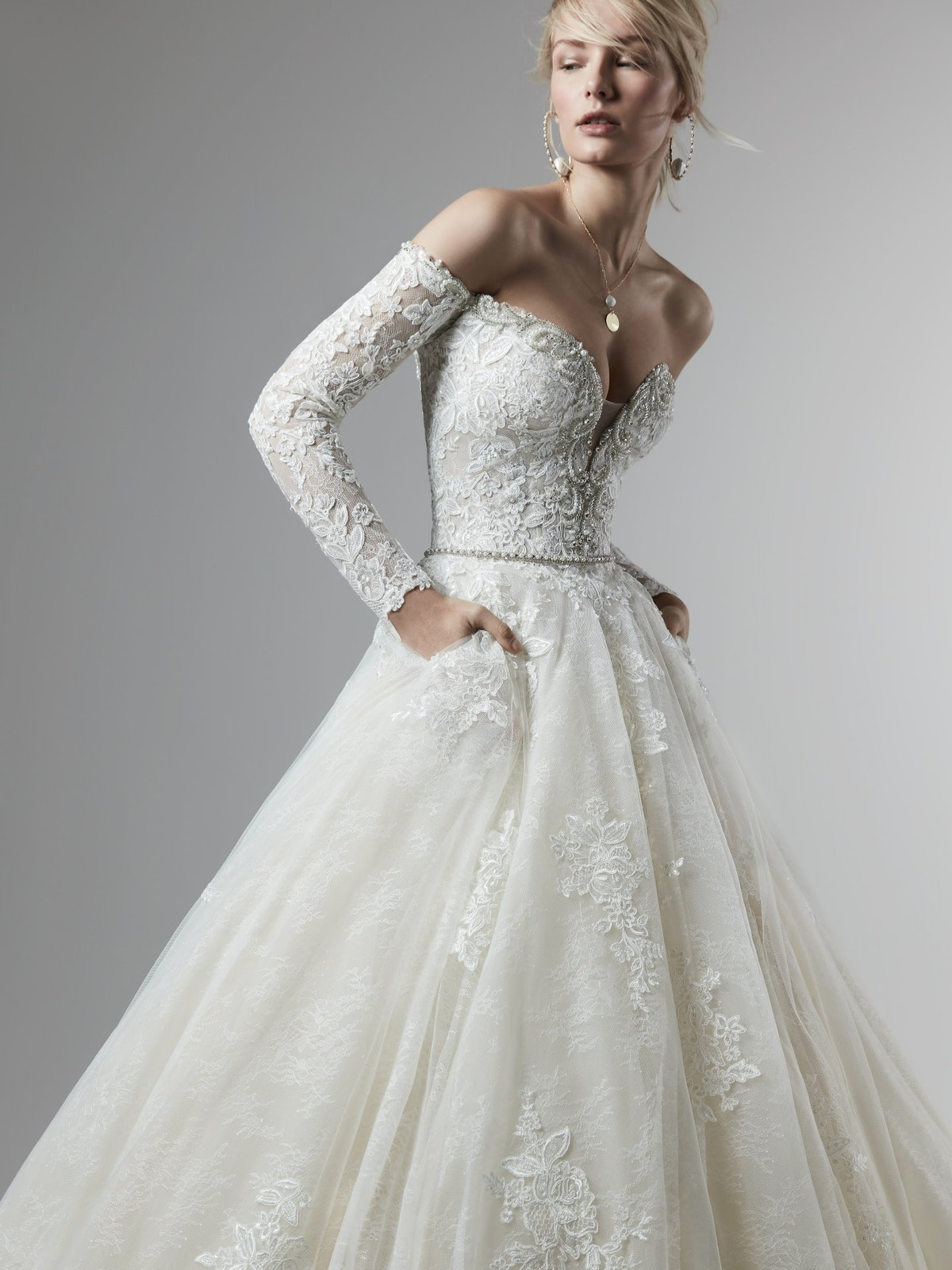 Porter Marie (9SS868) Off the Shoulder Long Sleeve Ballgown Wedding Dress by Sottero and Midgley