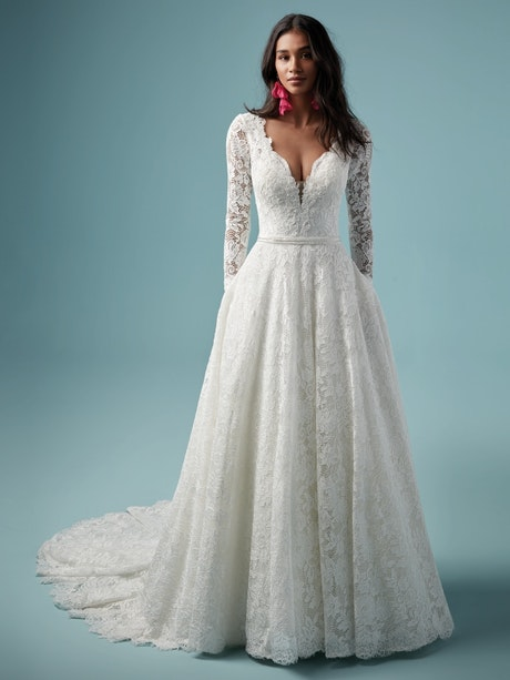 Terry (9MN860) Long Sleeve Lace A Line Boho Wedding Dress by Maggie Sottero