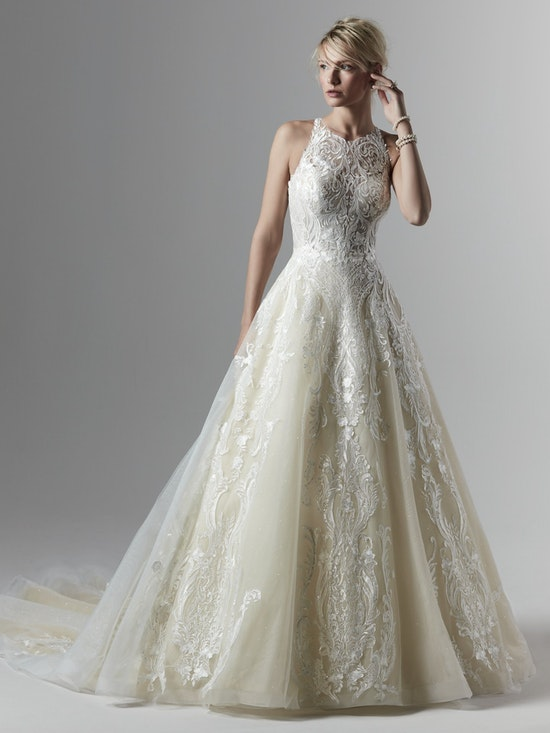 Tovah (9SS895) Halter Neckline Unique Lace Ballgown Wedding Dress by Sottero and Midgley