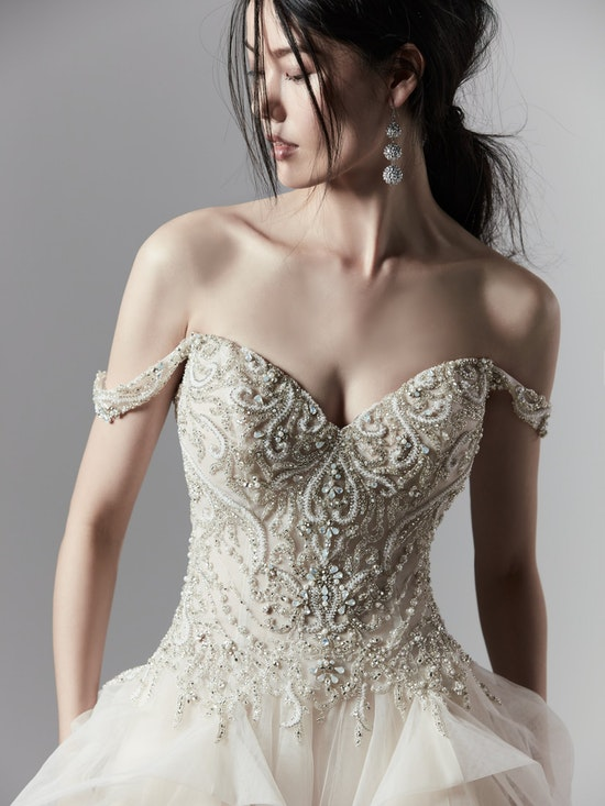 Wesley (9SS854) Beaded Vintage Bodice with Layered Ballgown Wedding Dress by Sottero and Midgley