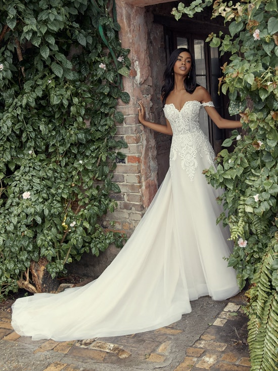 Vanessa (Curve) (CRV-9RS806ZU) Shoulder A Line Princess Wedding Dress by Rebecca Ingram
