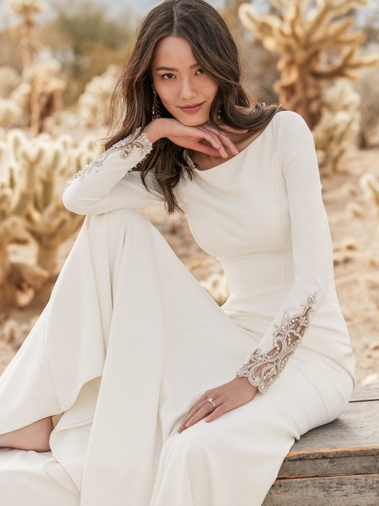 Aston (9SC815) Long Sleeve Simple Wedding Dress by Sottero and Midgley