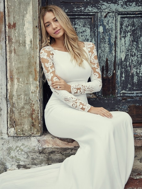 Bethany (9RW909) Long Lace Sleeve Simple Wedding Dress by Rebecca Ingram