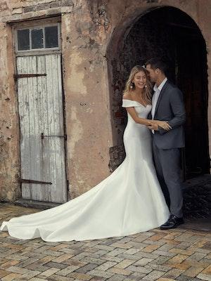 Josie (9RT846) Simple Off the Shoulder Wedding Dress by Rebecca Ingram