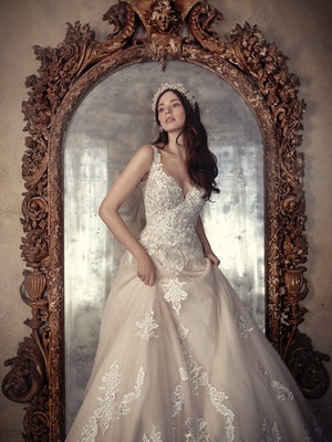 Trinity (9MS902) Unique Lace Ballgown Wedding Dress by Maggie Sottero