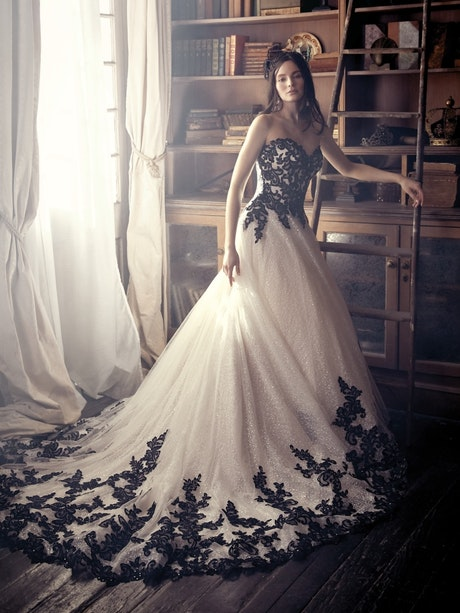 Tristyn (9MC914) Black and Champagne Ballgown Wedding Dress by Maggie Sottero